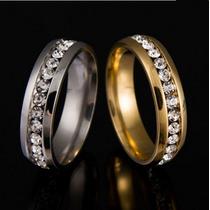 Aliança Anel De Brilhante Prata E Dourado Com Zircônia