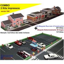 Combo Maquete Papel P/ Montar: 4 Construções +estacionamento