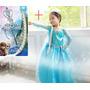 Fantasia Vestido Frozen Elsa + Tiara Pronta Entrega Oferta
