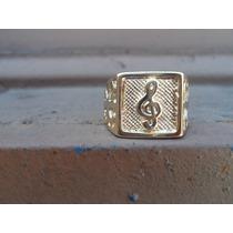 Anel De Aço Folhado A Ouro Nota Musical