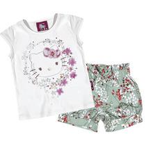 Camiseta Infantil E Short Florido Verde Hello Kitty