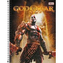 Caderno Espiral Tilibra God Of War Cratos 10 Mats 200 Folhas