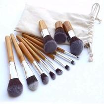 Kit 11 Pincéis Maquiagem Profissional Kabuki E Precisão