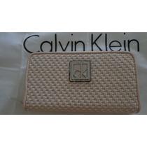 Carteira Calvin Klein Fem Rosa E Branco 100% Original Linda