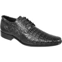 Sapato Exótico Silverado Couro De Jacaré Cor Preto - 100% Co