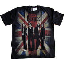 Camiseta Premium The Beatles Bandeira Inglaterra Stamp