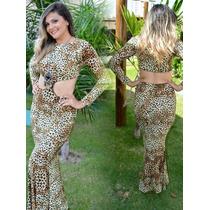 Vestido Feminino Festa Longo Cropped Saia Longa Oncinha Luxo