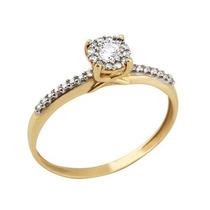 Anel Solitário Ouro18k 31 Diamantes 0,5pts 1 Diamante 10pts