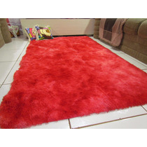 Tapete Sala Quarto 1,00x1,20 Peludo Vermelho Mesclado 4mm