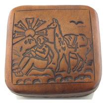 Conjunto Tres Porta-joias Quadrado Artesanal Em Couro B1590
