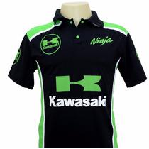Camiseta Camisas Gola Polo Esportiva Moto Kawasaki