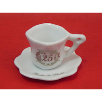 Lembrancinha Porcelana Mini Xícara C/ Pires Arte Bodas Prata