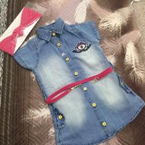 Vestido Jeans Infantil Com Cinto E Faixa Lilica