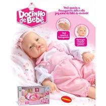 Boneca Docinho De Bebe 45cm Fala Frases Com Tiara Divertoys