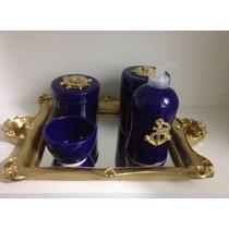 Kit Higiene Bebe Porcelana/cerâmica Azul Marinheiro/principe