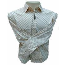 Camisa Social Masculina Louis Vuitton Quadriculada Branca
