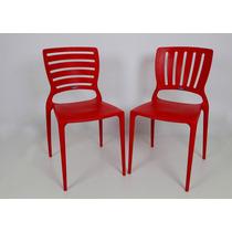 04 Cadeiras Sofia Com Encosto Vazado Vermelho Tramontina Fg
