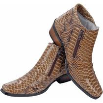 Bota Country Peão Texana Escamada Cobra Western 100% Couro