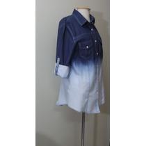 Camisa Feminina Blusa Tipo Jeans Degrade Dobra Manga 2 Cores