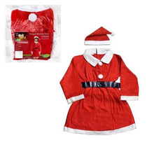 Roupa De Natal Mamãe Noel Infantil P Crianças C Toca E Cinto