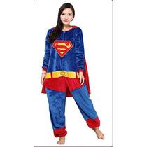 Pijama Adulto Macacão Plush Superman Liga Justiça Com Capuz
