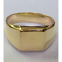 Anel Masculino Chapa Quadrado Lisa Ouro Amarelo 18k 750.
