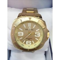 Relógio Masculino Atlantis Original Dourado Aço