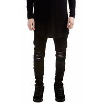 Calça Masculina Jeans Sarja Skinny Preta Rasgada Juvenil