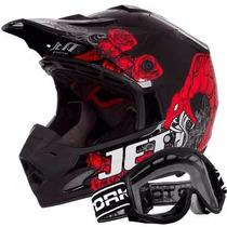 Capacete Jett Veneno Motocross Trilha + Oculos Pro Tork