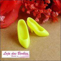Sapatinho Para Boneca Barbie * Sapato Scarpin Amarelo