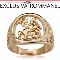 Rommanel Anel Masculino São Jorge Folheado Ouro 18k 511145