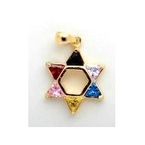 Pingente Judaico Estrela De Davi Folheado Com Zircônias