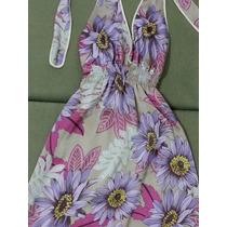 Vestido Frente Única Fundo Nude Estampa Floral Tam . 38