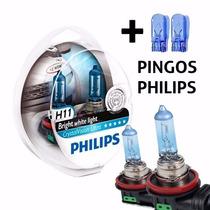 Lampada Farol H11 Super Branca Philips Cristal Vision 4300k