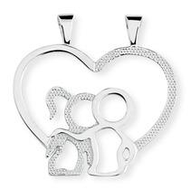 Pingente Casal Coração Em Prata De Lei 950