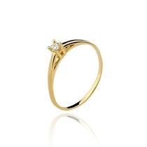 Anel De Ouro 18k Solitário Com 1 Diamante 5 Pts