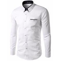 Camisa Social Masculina Slim Ver Disponibilidd D Cor P/e F/g