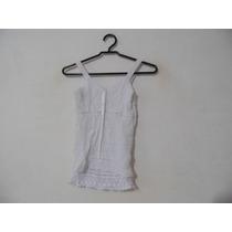 Blusa Feminina Branca Alcas Detalhe Fita Cód. 1088