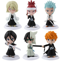 Kit 6 Bonecos Bleach - Manga Anime Figures Com Base