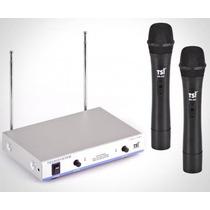 Microfone Sem Fio Duplo Vhf Super Cardioide 2 Out Tsi Ms425