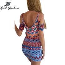 Vestido Multicolor Feminino Pescoço V Off The Shoulder