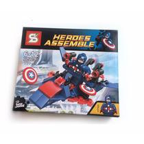 Boneco Carro Lego Montar Herois Capitão América Hulk Thor