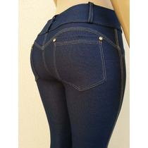Calça Feminina Legging Jeans Montaria Azul E Preta Cós Alto