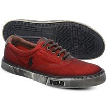 Tênis Polo Sneaker Masculino Vermelho Manchado