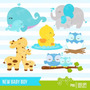 Kit Scrapbook Digital Animais Baby Imagens Clipart Cod 9