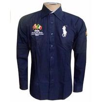 Camisa Social Rl England Azul Marinho