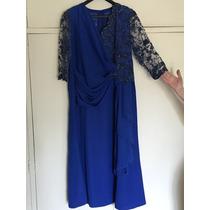 Vestido De Festa - Cetim / Seda - 48 - Azul - Lindo