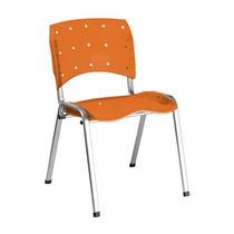 Cadeira Em Polipropileno Laranja Empilhavel Oblongo Prata