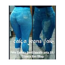 Calça Legging Jeans Imita Jeans - Roupas Femininas 10 Peças