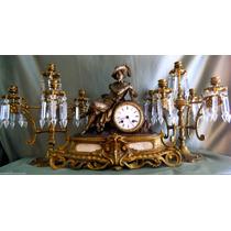 Fantástico Relógio Francês Com Candelabros